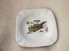 COLLECTABLE GILDED ASHTRAY SOUVENIR HISTORICAL MAP OF CYPRUS BEADED RIM HARLEK
